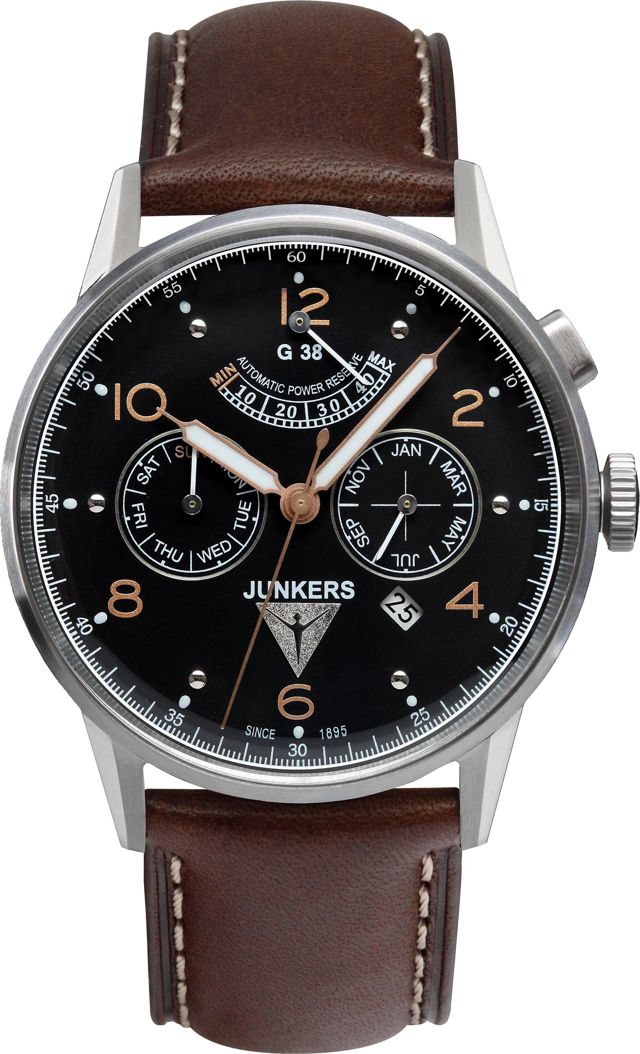 Junkers-Uhren Automatikuhr »G38, 6960-5« Made in Germany, braun