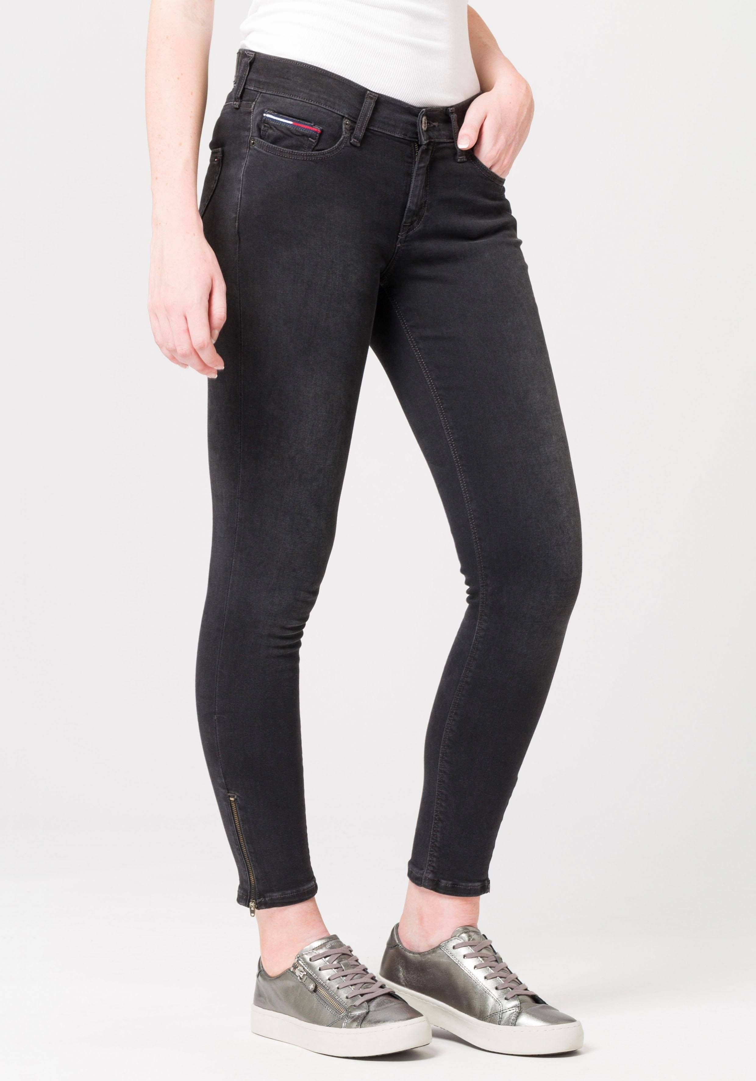 TOMMY JEANS Jeans »MID RISE SKINNY NORA 7/8 ZIP CUBLST«, CURTIS BLACK STRETCH