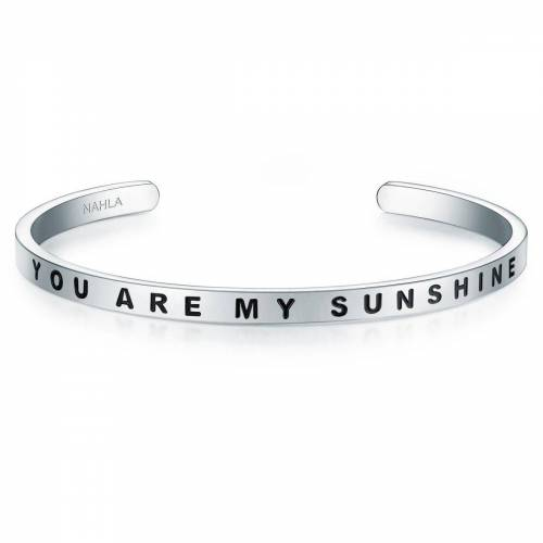 Nahla Jewels Armreif »X321«, mit Slogan YOU ARE MY SUNSHINE, silberfarben