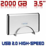 "Captiva 2000gb 3,5"" Externe Festplatte Captiva Pc Notebook Usb 2.0 Sata Hdd 2 Tb Neu"