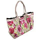 Ragged Rose GT-TRU09-OPR0C Garden PVC Trug Bag with Pink Roses - Taupe