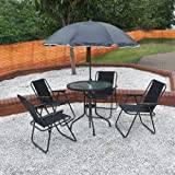 Kingfisher 4 Person Garden Furniture Patio Set with Table, 4 Folding Chairs & Parasol