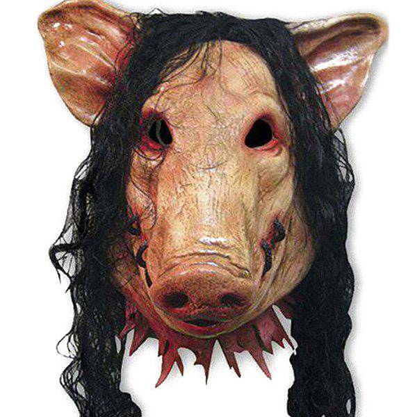 rosegal Halloween Supplies Cosplay Scary Pig Head With Hair Mask Prop