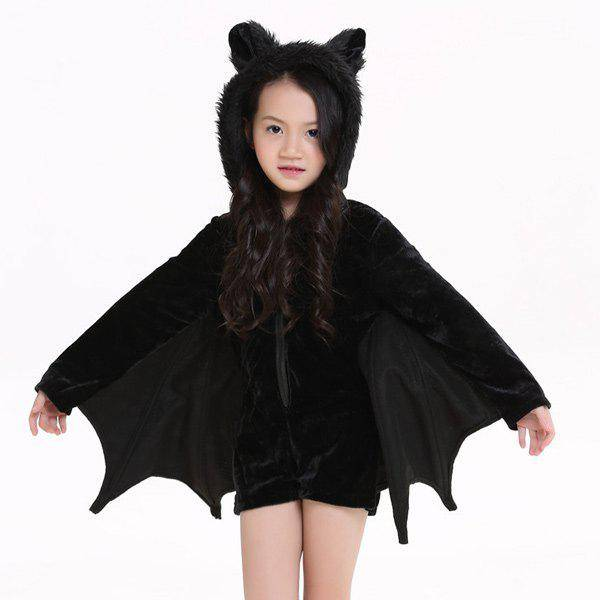 rosegal Kids Halloween Party Supply Cosplay Bat Zipper Jumpsuit Connect Wings Costume For Girls