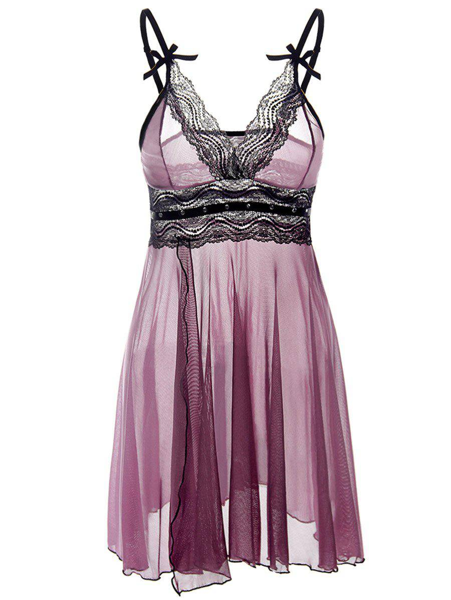 rosegal Lace Trim See Through Plus Size Babydoll