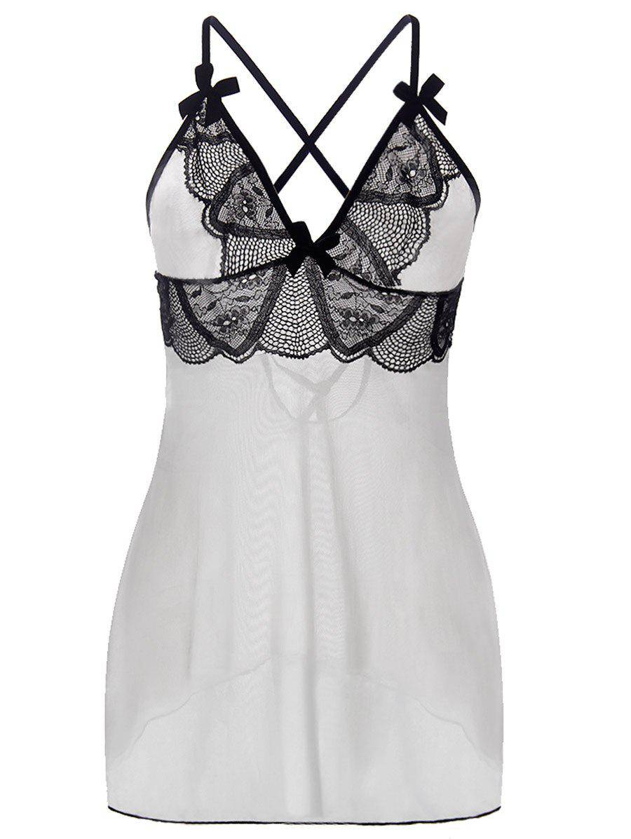 rosegal Lace Up See Through Plus Size Babydoll