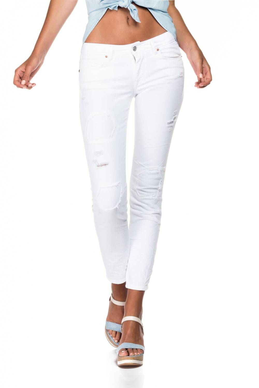 Salsa Pantalón blanco rasgado con remiendos del mismo color - Collete skinny fit