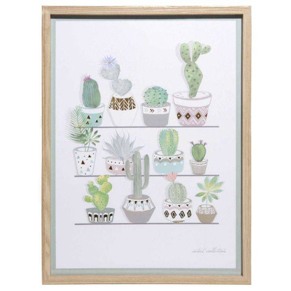 Maisons du monde Cuadro de aluminio dorado 30x40 cm CACTUS COLLECTION