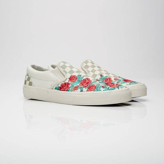 Vans Ua Classic Slip-on Dx (Rose Embroidery) Marshmallow/Turtledove