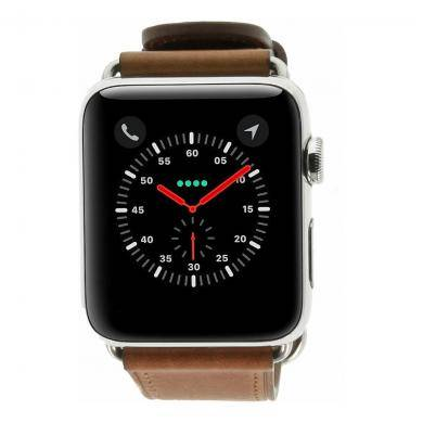 Apple Watch Series 2 carcasa inoxidable plata 42mm con correa clásica de piel