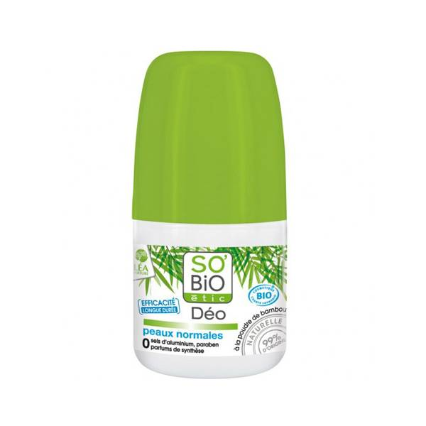 SO'BiO étic Desodorante roll-on con polvo de Bambú para piel normal