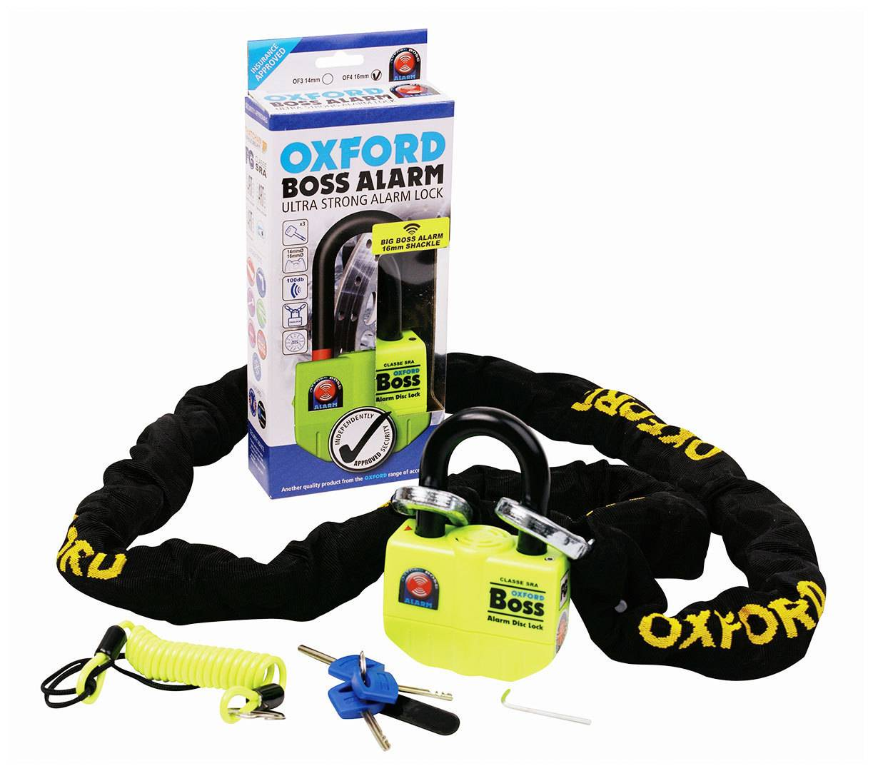 Oxford Boss Chain and Alarm Padlock Negro 150 cm