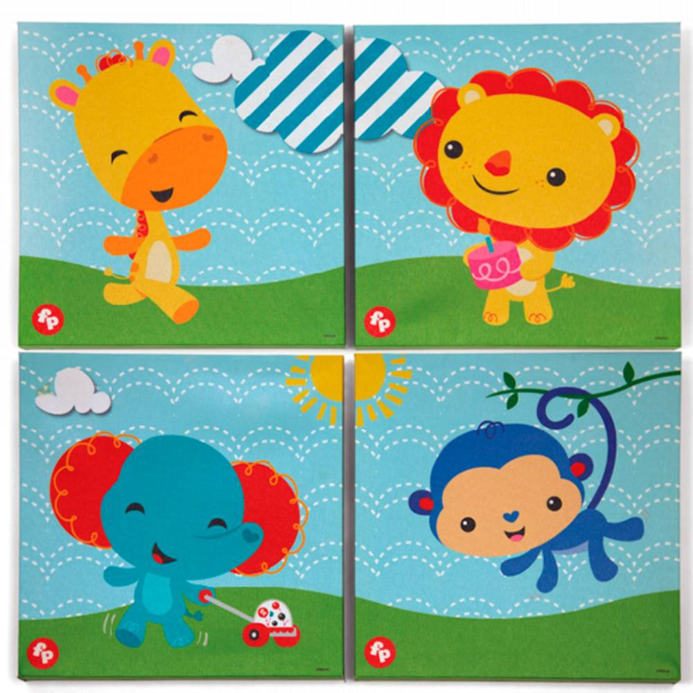 Fisher-Price Cuadro Lienzo Canvas Fisher-Price 4 Uds 0m+