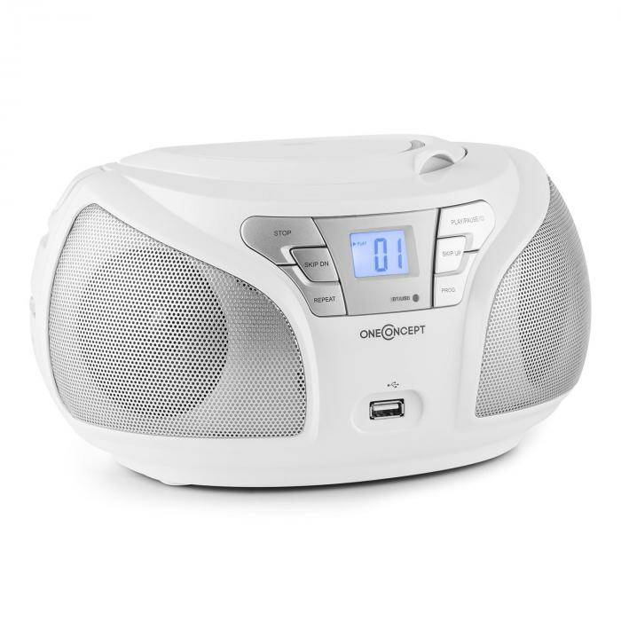 OneConcept Groovie WH Boombox Bluetooth CD UKW AUX MP3 blanco (MG-Groovie WH)
