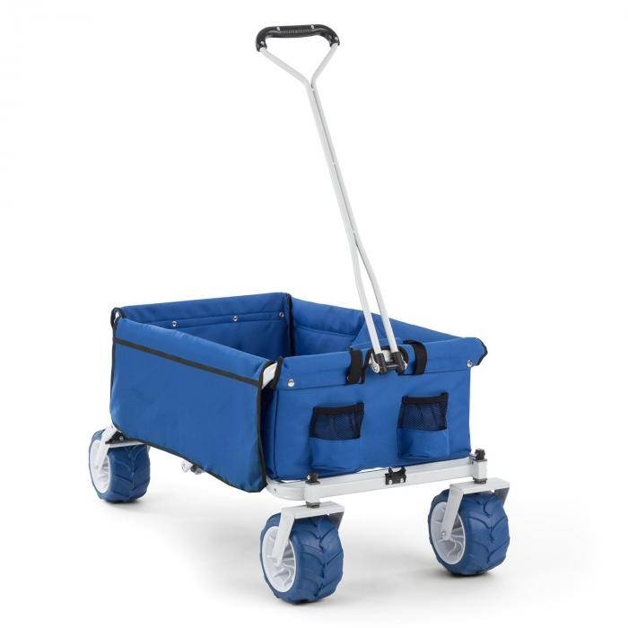 Waldbeck The Blue Carretilla de mano plegable 70kg 90l Ruedas anchas 10cm azul (WGO-The-Blue)