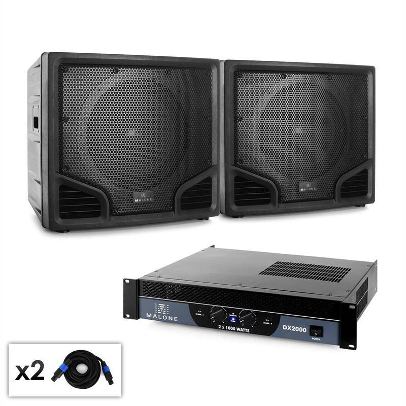 Electronic Star Malone Club - Set PA 2.0 SUB 2 x Subwoofer ABS & Amplificador 2000 W (PL-11081-21668)