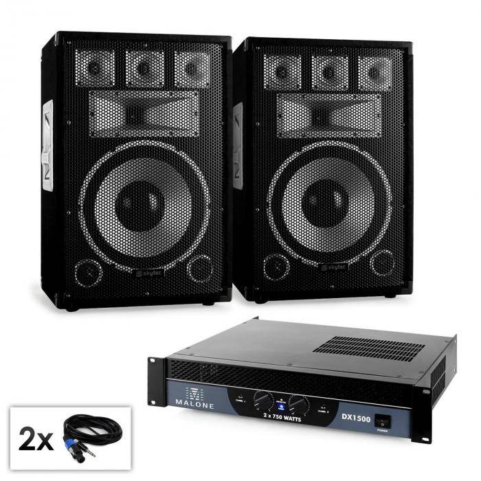 "Electronic-Star Conjunto PA Saphir ""Warm Up Party""12plusII 2 altavoces 12""amplificador 1500W (PL-10876-21667)"