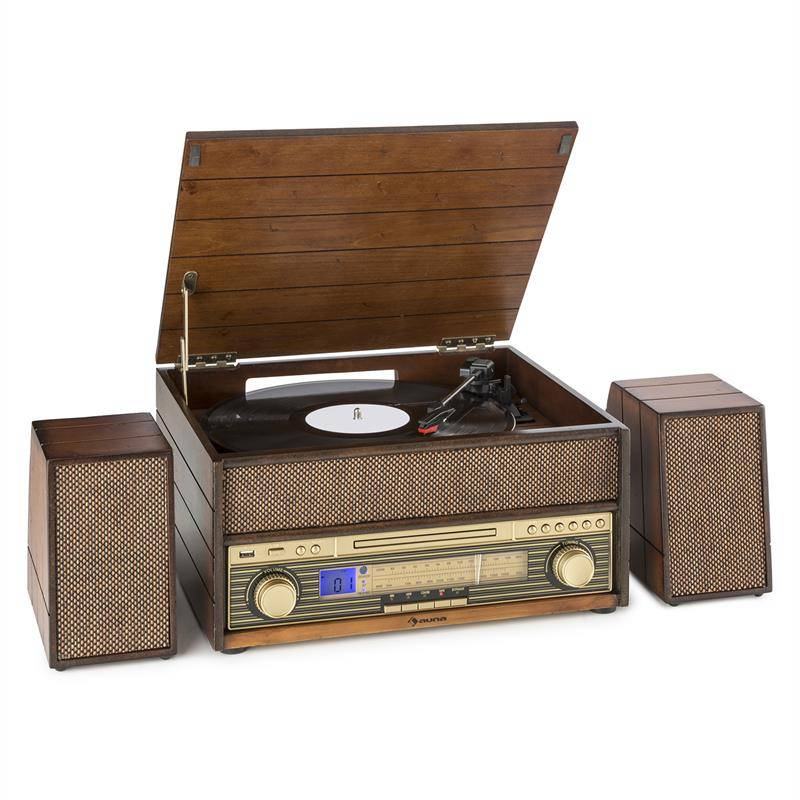 Auna Epoque 1909 Tocadiscos sistema de audio retro Casete CD Bluetooth USB AUX (TTS9-Epoque 1909)