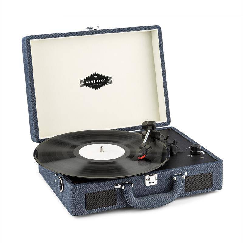 Auna Tocadiscos  Pegy Sue Retro LP USB Altavoz Integrado Reproductor Jeans Denim (TTS6-Peggy-Sue-Denim)