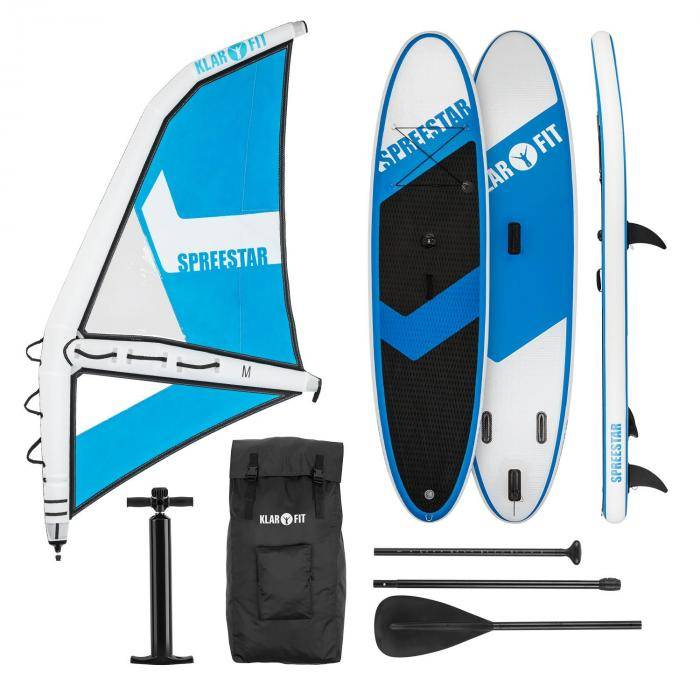 Klarfit Spreestar WM Set tabla hinchable para surf de remo Tabla SUP 300x10x71 Azul/blanco (WTR1-Spreestar WM)