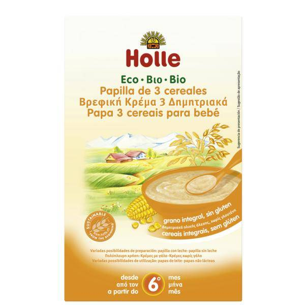 Holle Papilla Bio De 3 Cereales +6 Meses Holle, 250 G