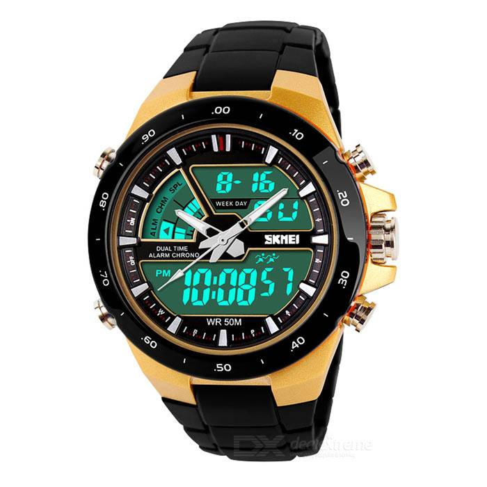 Analog + Waterproof SKMEI 1016 Reloj digital para hombres - Negro + Amarillo