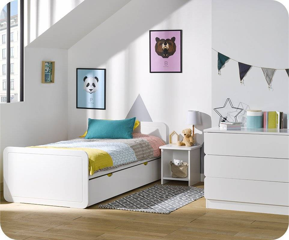 Blanco Dormitorio juvenil LEMON Blanco - Set de 3 Muebles
