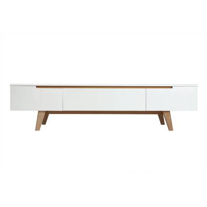 Blanco Mueble TV escandinavo blanco brillante y fresno 180cm MELKA - Miliboo