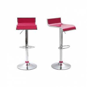 Lote de 2 taburetes de bar WAVES color magenta - Miliboo