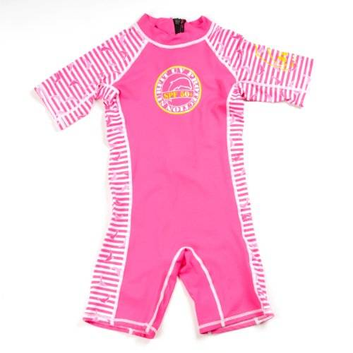 Surfit Girl's Dolphin Striped Shorty Sunsuit UV50 Plus - Pink/White, 12-24 Months