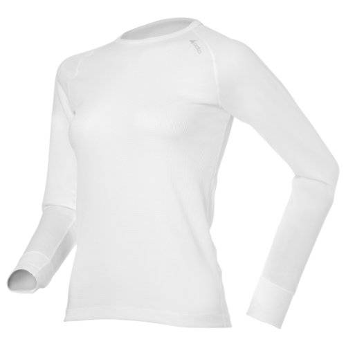 Odlo Unterhemd Shirt Long Sleeve Crew Neck Cubic - Top interior térmico para mujer, color blanco, talla 2XS