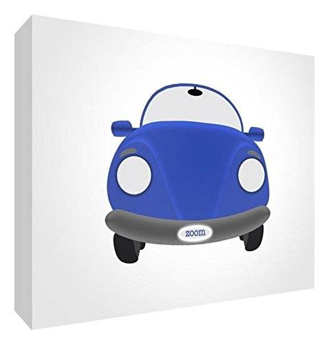ART Feel Good Art CAR-A7BLK-04R-ES - Bloque decorativo recuerdo del bebé, diseño coche, 7.4 x 10.5 x 2 cm, color azul / blanco