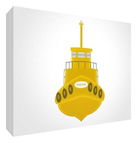 ART Feel Good Art BOAT-A7BLK-06R-ES - Bloque decorativo recuerdo del bebé, diseño barco, 7.4 x 10.5 x 2 cm, color amarillo / blanco