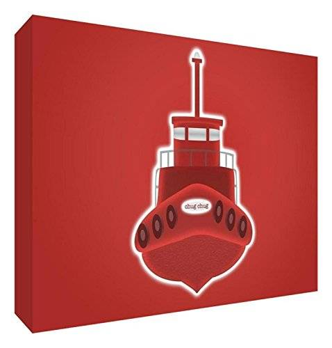 ART Feel Good Art BOAT-A7BLK-09ES - Bloque decorativo recuerdo del bebé, diseño barco, 7.4 x 10.5 x 2 cm, color rojo