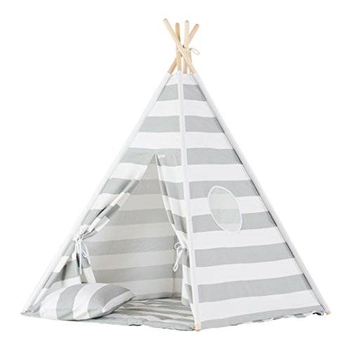 wigiwama Teepee Set, rayas, color gris