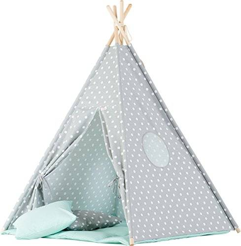 wigiwama gris lunares Teepee con Mint Mat