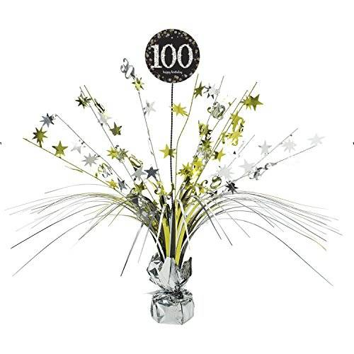 Amscan International – 9901733 45 cm oro celebración 100º Centrepiece spray