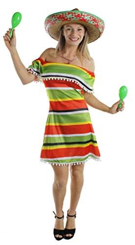 ILOVEFANCYDRESS WOMENS MEXICAN DRESS FANCY DRESS COSTUME ACCESSORY LADIES MEXICAN PONCHO DRESS GREEN RED YELLOW WITH POM POM DETAIL - DRESS ONLY