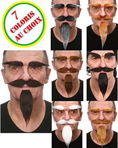 AEC–mo938/Chatain–Set Luxe rey Chatain (bouc-moustaches-sourcils)