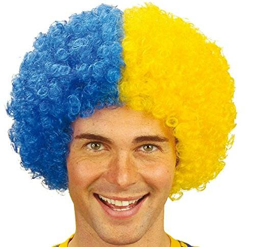 Sancto Two-Tone Curly Wig - Blue/Yellow