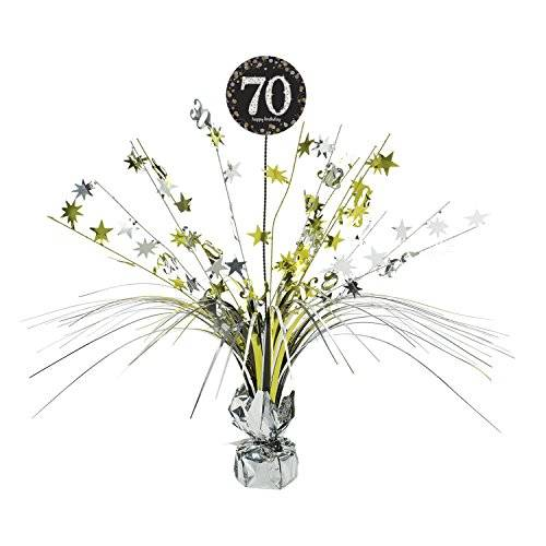 Amscan International – 9901709 45 cm oro celebración 70th Centrepiece spray