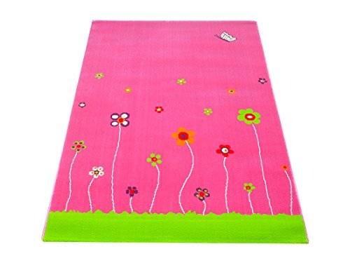 Little Helper Alfombra Hipoalergénica con Bordado en Relieve, Diseño de Flores, Color Rosa (134 x 180 cm)