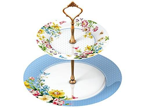 Creative KATIE ALICE English Garden SHABBY CHIC 2 Tier Porcelain Cake Plate Stand