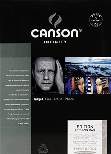 Infinity Canson infinity Edition Etching Rag 206211009 - Papel fotográfico (A2, 25 hojas), color blanco