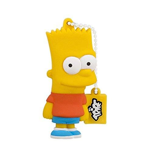 Tribe Los Simpsons Bart - Memoria USB 2.0 de 8 GB Pendrive Flash Drive de goma con llavero, color amarillo