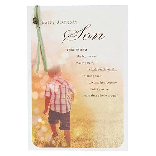 OfficeCentre Hallmark Birthday Son Traditional Attached Button and Ribbon Card - Medium