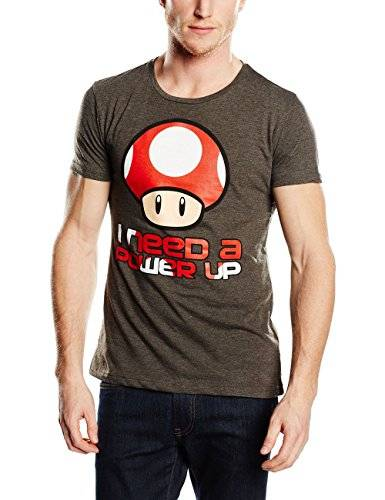 Bioworld Super Mario Bros - T-Shirt Super Mario: I Need A Power Up Grey Men (S) [Importación Francesa]