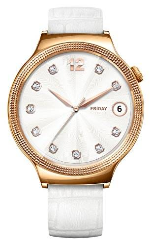 Huawei 55021135 elegante SMART WATCH con piel pulsera, Acero inoxidable Rosegold/Color Blanco
