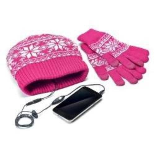 Celly KITW01P - Gorro con auriculares, incluye guantes, color rosa