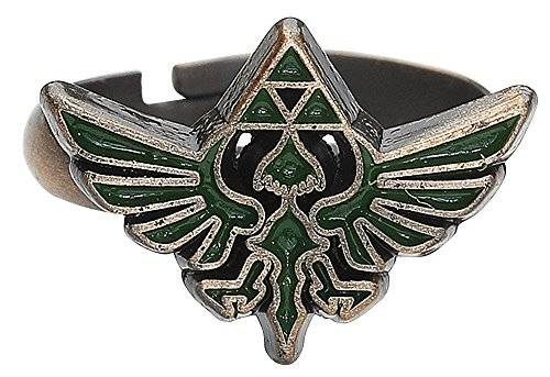 The Legend of Zelda–Anillo with Green Triforce Logo–Maat L